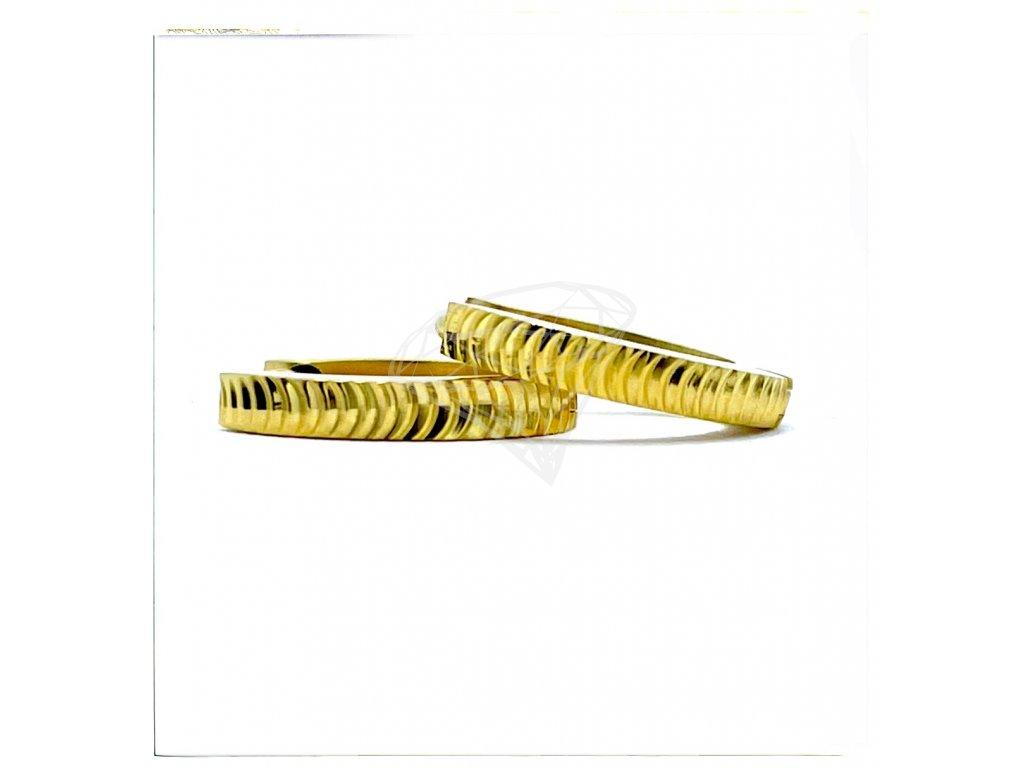 (O5356) Ocelové náušnice KROUŽKY Ø 13 MM, zdobené GOLD/zlatá barva