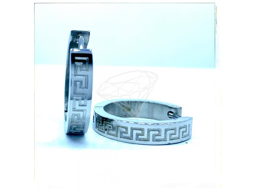 (O5231) Ocelové náušnice KRUHY s řeckým vzorem