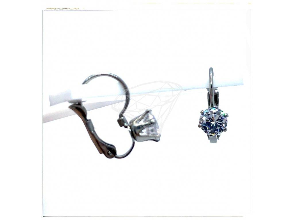 (O237) Ocelové dámské náušnice s kamínkem Ø 6 MM