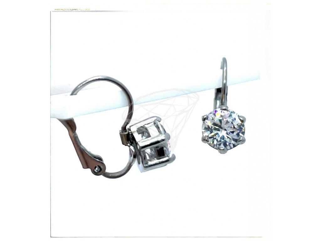 (O239) Ocelové dámské náušnice s kamínkem Ø 7 MM