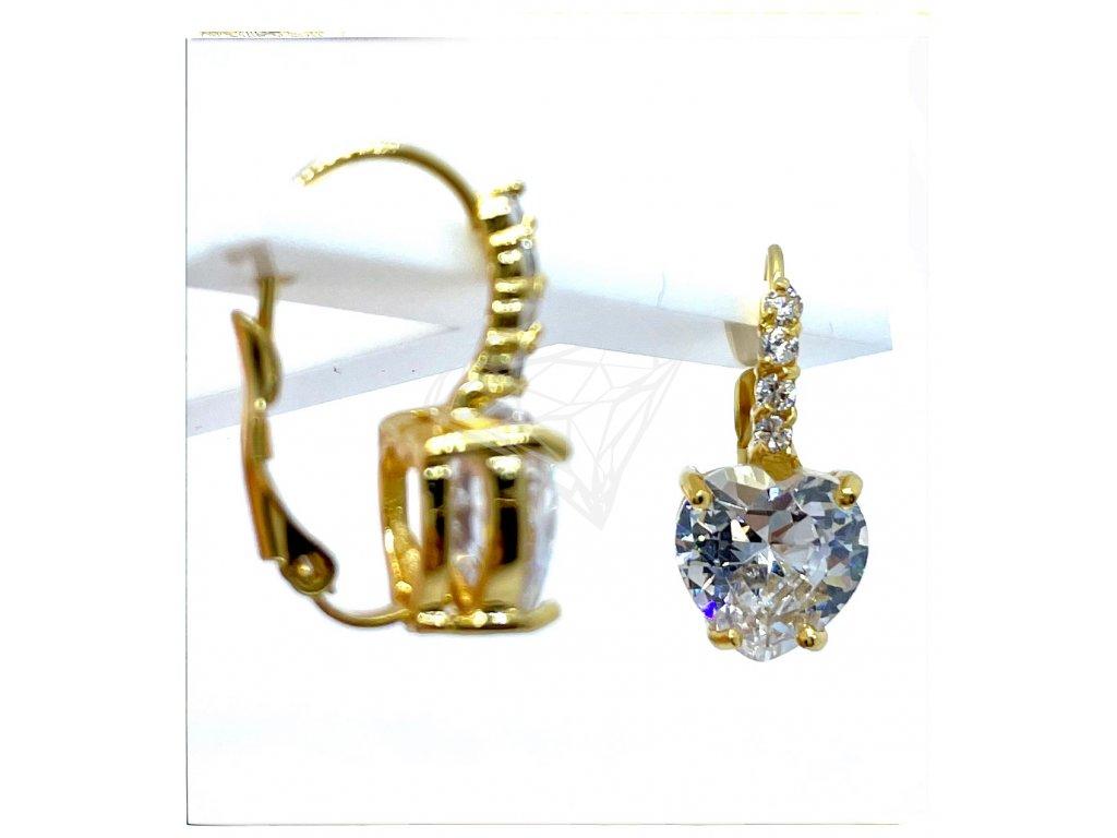 (O220) Ocelové dámské náušnice SRDCE s kamínky (10 MM), na klapku GOLD/zlatá