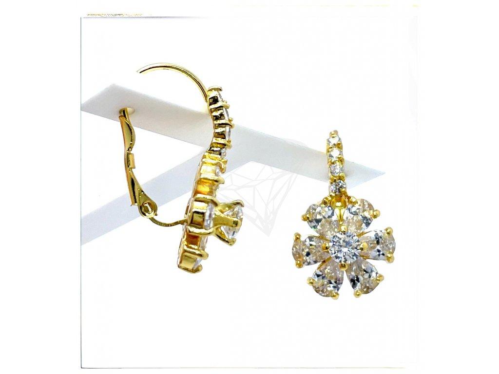 (O221) Ocelové dámské náušnice, KYTIČKY s kamínky, na klapku GOLD/zlatá barva