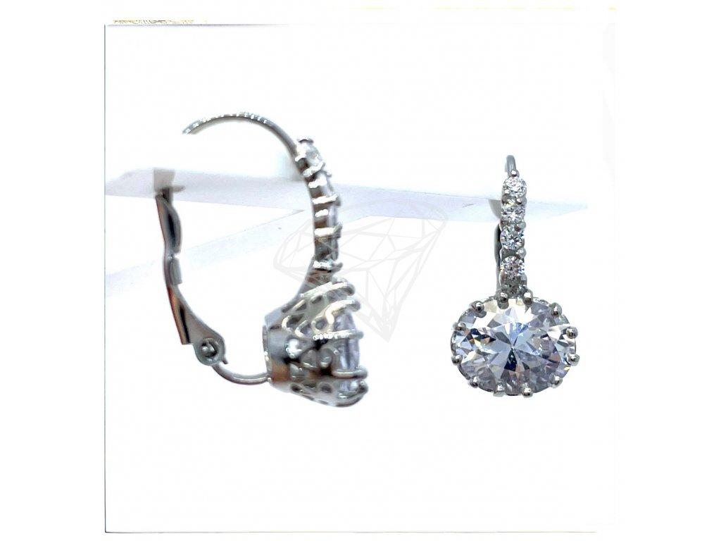(O222) Ocelové ŠTRASOVÉ dámské náušnice, OVÁL s kamínky, na klapku