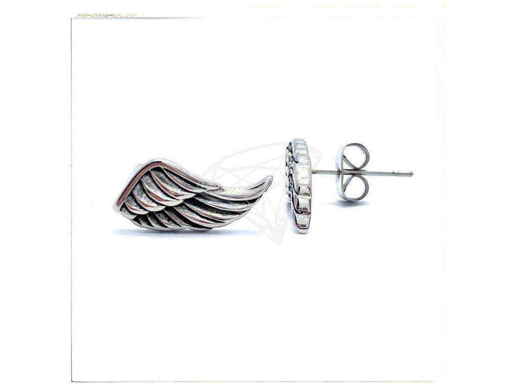 (O2141) Ocelové náušnice na puzetu, PECKY KŘÍDLA (MOTO)