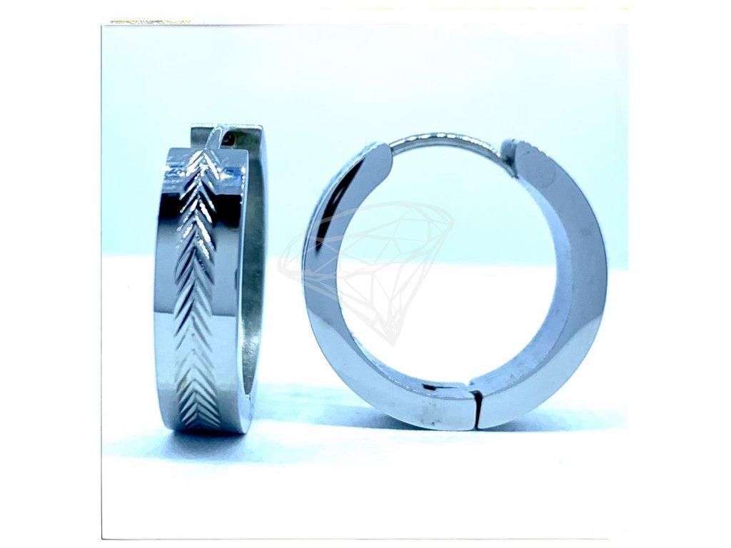 (O5234) Ocelové náušnice KRUHY s gravírováním