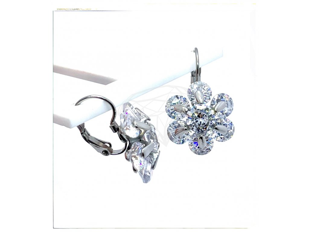 (O242) Ocelové dámské náušnice, KYTIČKA s kamínky, na klapku