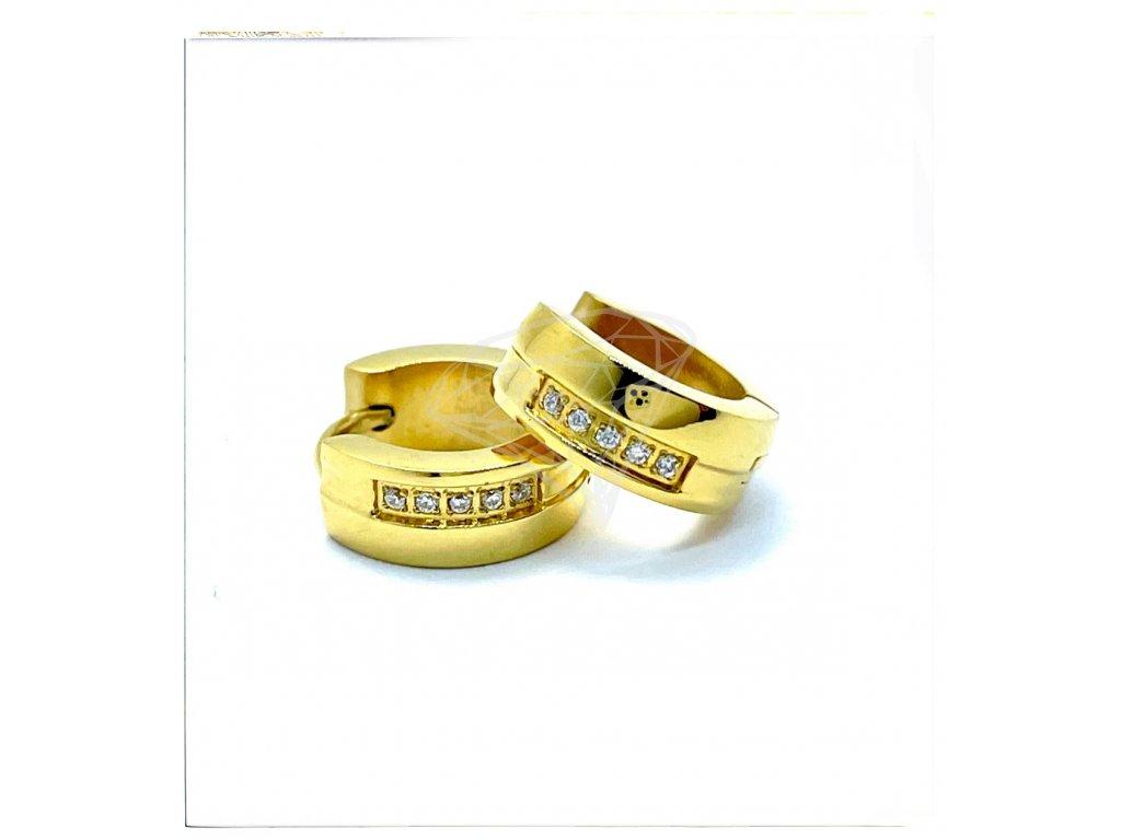 (O5277) Ocelové náušnice KROUŽKY s kamínky Ø 13 MM, GOLD/zlatá barva