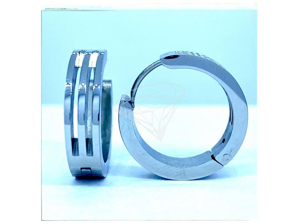 (O5236) Ocelové náušnice KRUHY s průhledem