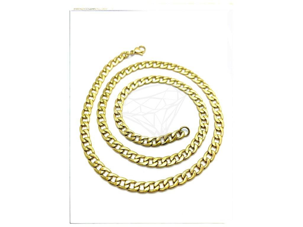 (O340) Ocelový pánský řetízek, PANCER 60/0,6 cm, GOLD/zlatá barva