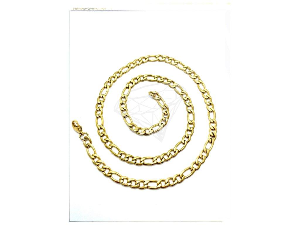 (O341) Ocelový pánský řetízek, FIGARO 60/0,6 cm, GOLD/zlatá barva