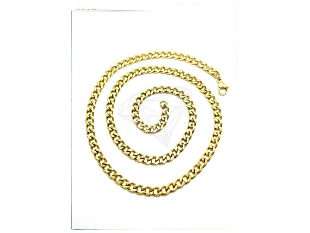 (O342) Ocelový pánský řetízek, PANCER 60/0,5 cm, GOLD/zlatá barva