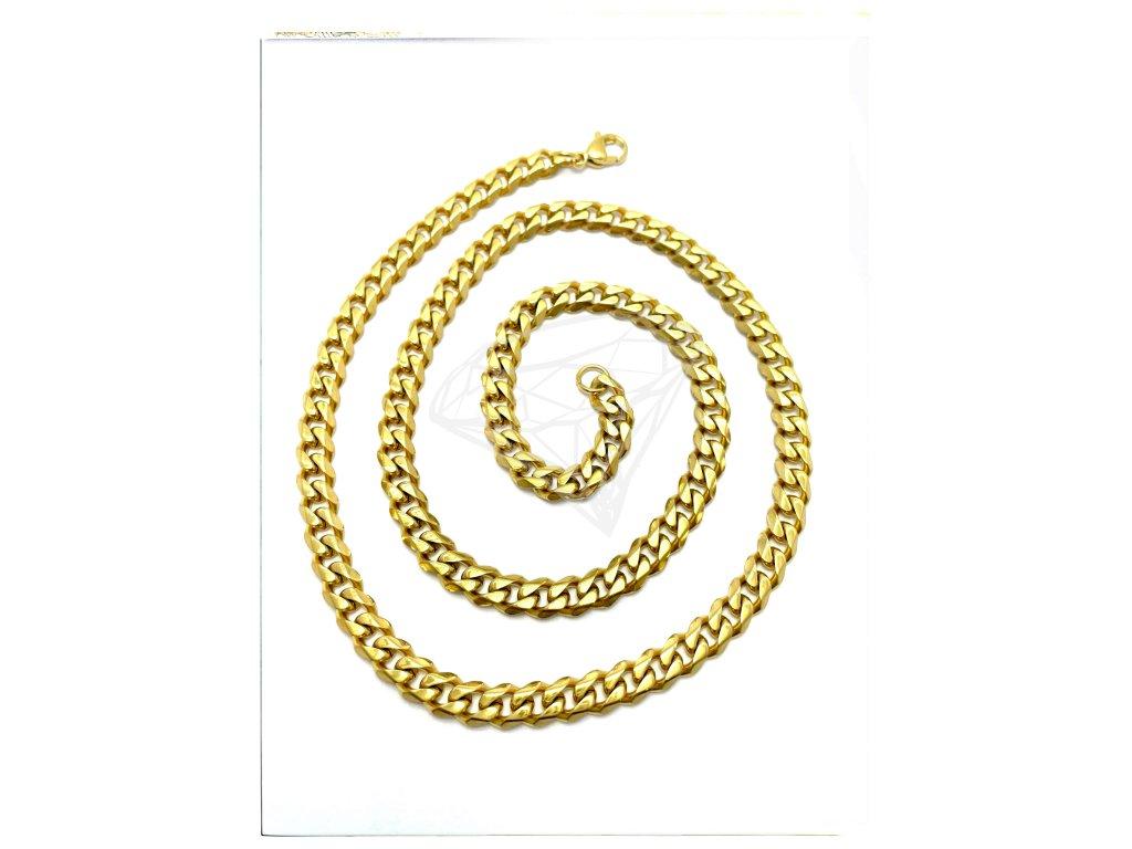 (O343) Ocelový pánský řetízek, PANCER 60/0,7 cm, GOLD/zlatá barva