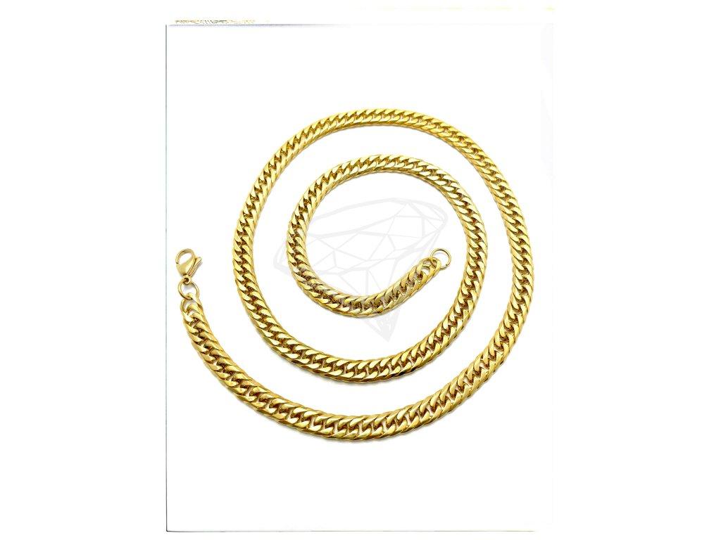 (O345) Ocelový pánský řetízek, proplétané ROMBO 60/0,6 cm, GOLD/zlatá barva