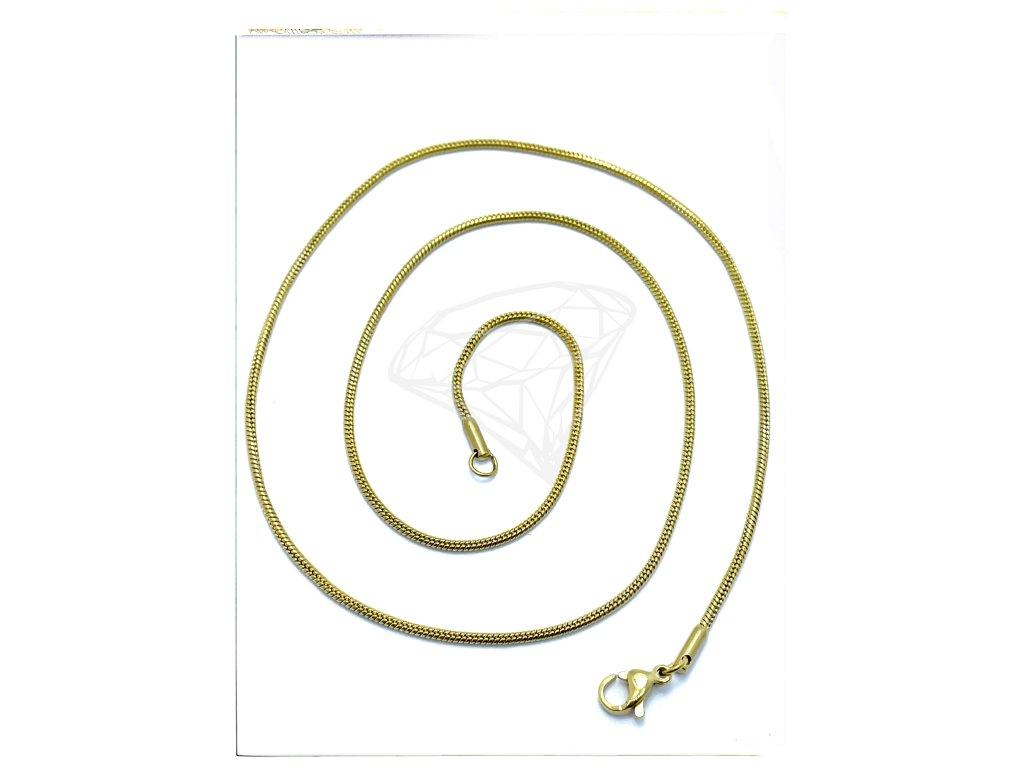 (O386) Ocelový dámský řetízek LANKO (HÁDĚ) 50,60/0,15 cm, GOLD/zlatá barva