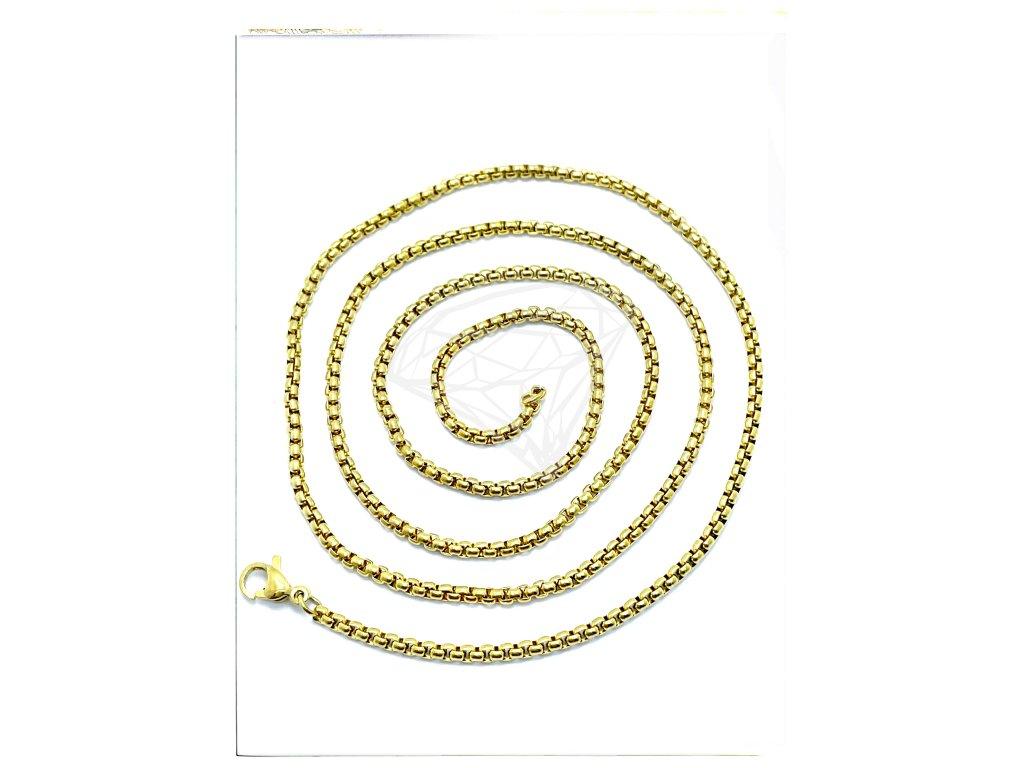(S380) Ocelový řetízek UNISEX 36 - 100/0,2 cm, KULATÝ, GOLD/zlatá barva