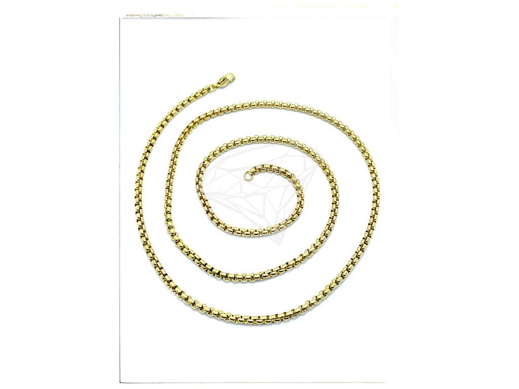 (S381) Ocelový řetízek UNISEX 36 - 100/0,25 cm, KULATÝ, GOLD/zlatá barva