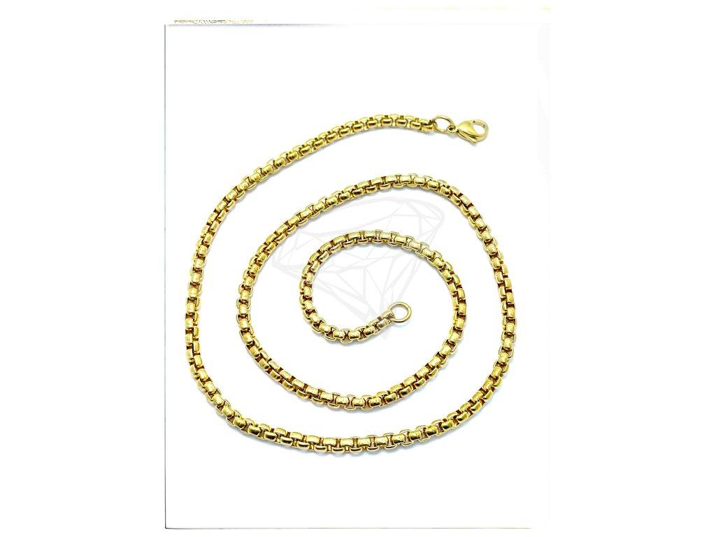 (S382) Ocelový řetízek UNISEX 36 - 100/0,3 cm, KULATÝ, GOLD/zlatá barva