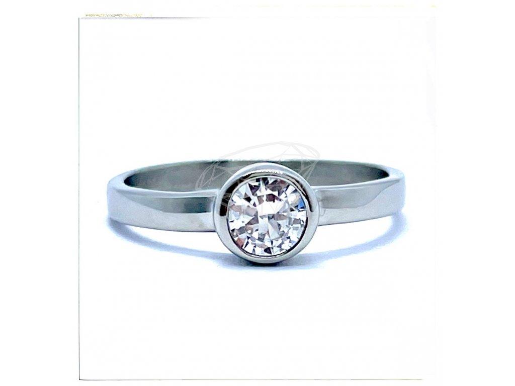 (O187) Ocelový dámský prsten s kamínkem