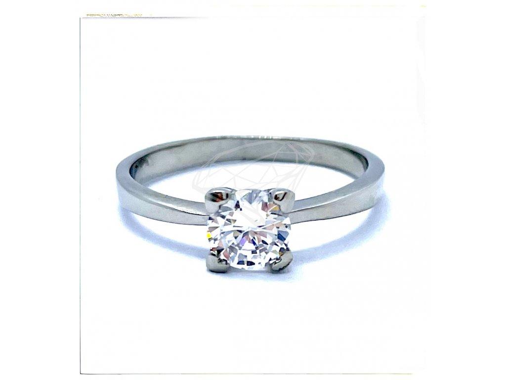 (O190) Ocelový dámský prsten s kamínkem