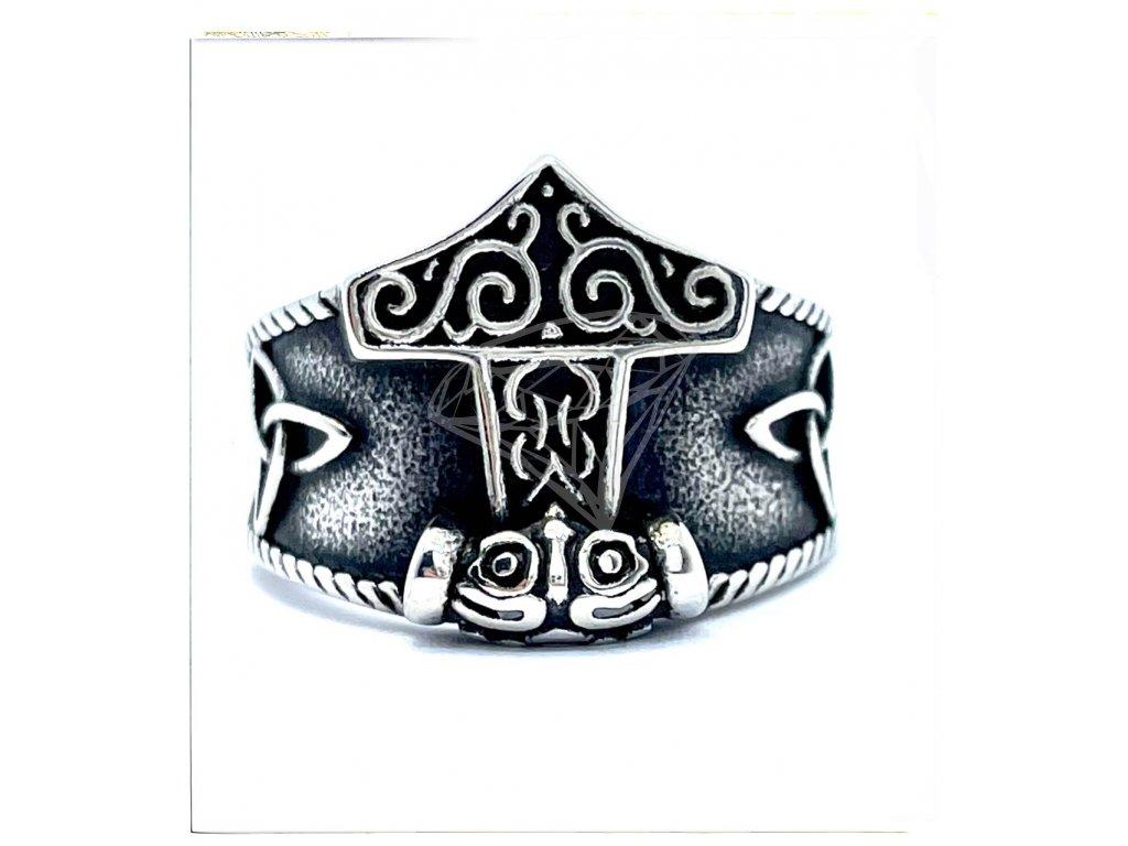 (O114) Ocelový pánský prsten THÓROVO KLADIVO