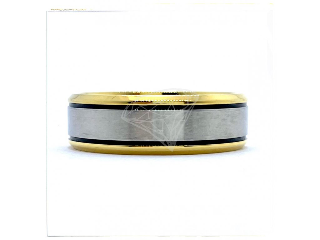 (O131) Ocelový prsten 7 mm, UNISEX, GOLD/zlatá barva