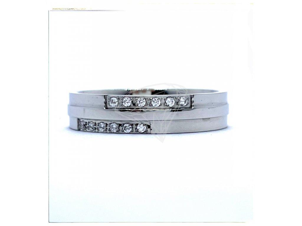 (O180) Ocelový dámský prsten s kamínky 5 mm