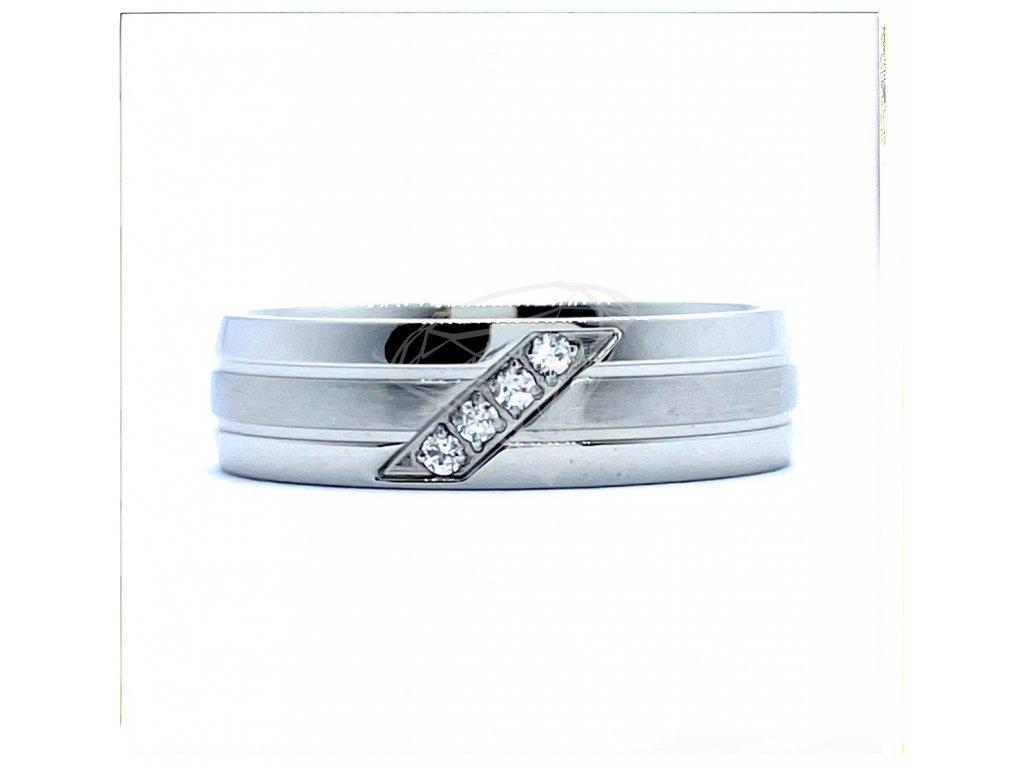 (O179) Ocelový dámský prsten s kamínky 6 mm