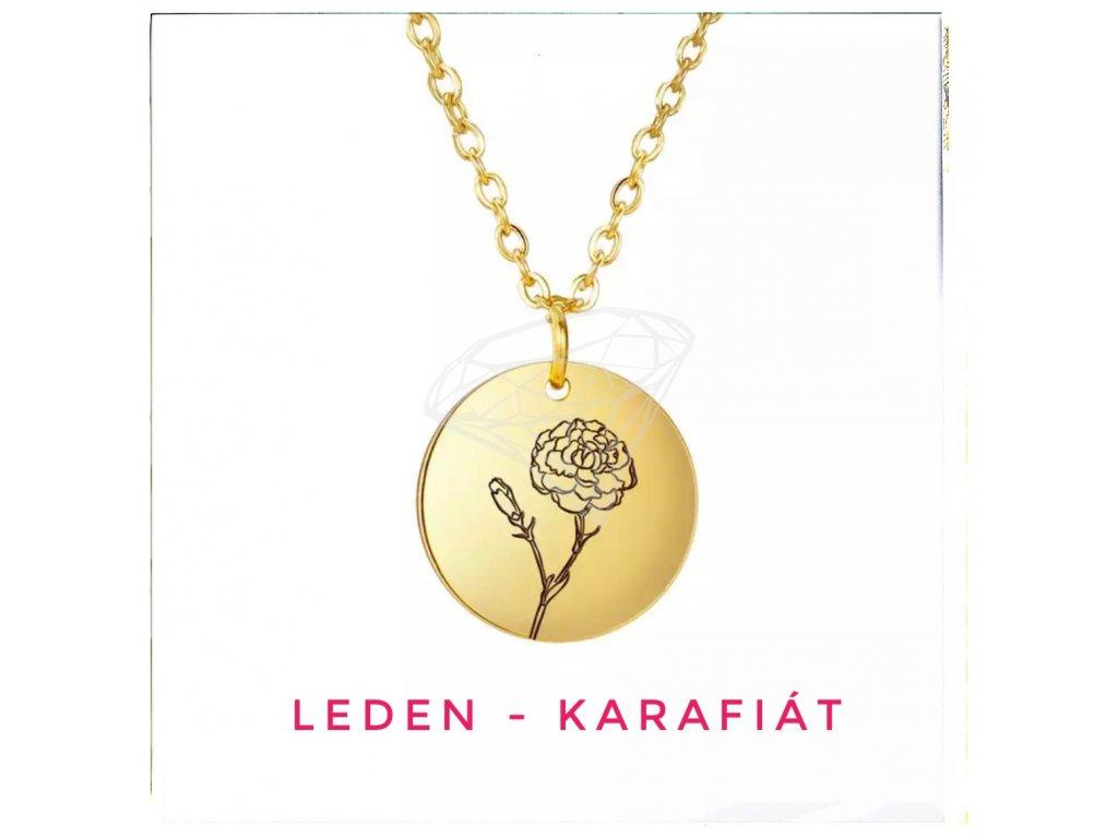 (O4082) Ocelový dámský set MEDAILON S KVĚTINOU, GOLD/zlatá barva