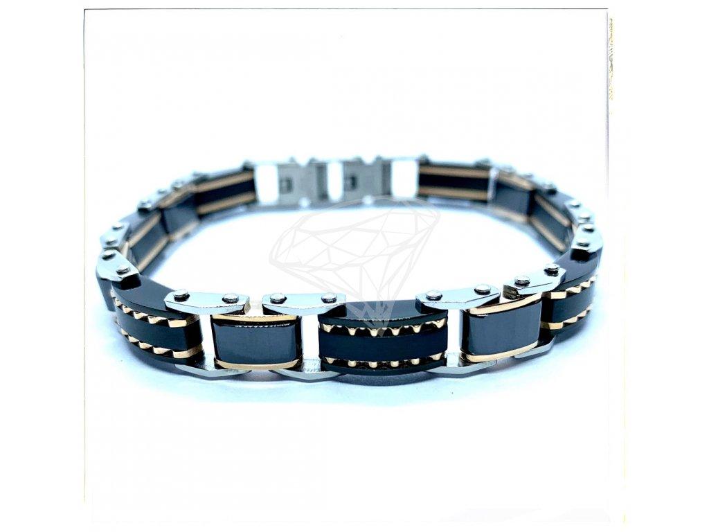 (O808) Ocelový pánský náramek DELUXE, kombinace s černou KERAMIKOU, ROSE/růžová a BLACK/černá barva