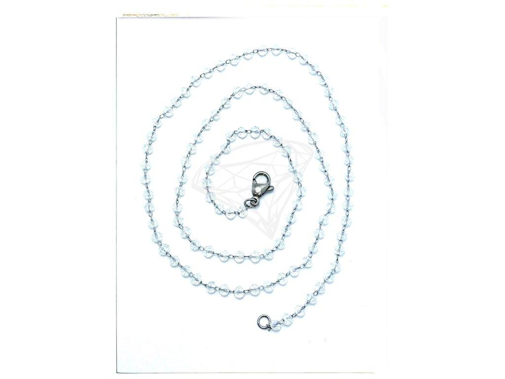 (S464) Ocelový řetízek KOUŘOVÉ KULIČKY 50 cm