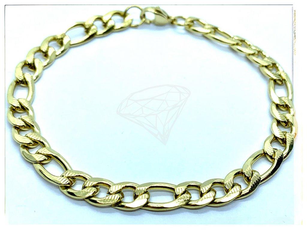 (O847) Ocelový pánský/dámský náramek, gravírované FIGARO 6 mm, GOLD/zlatá barva