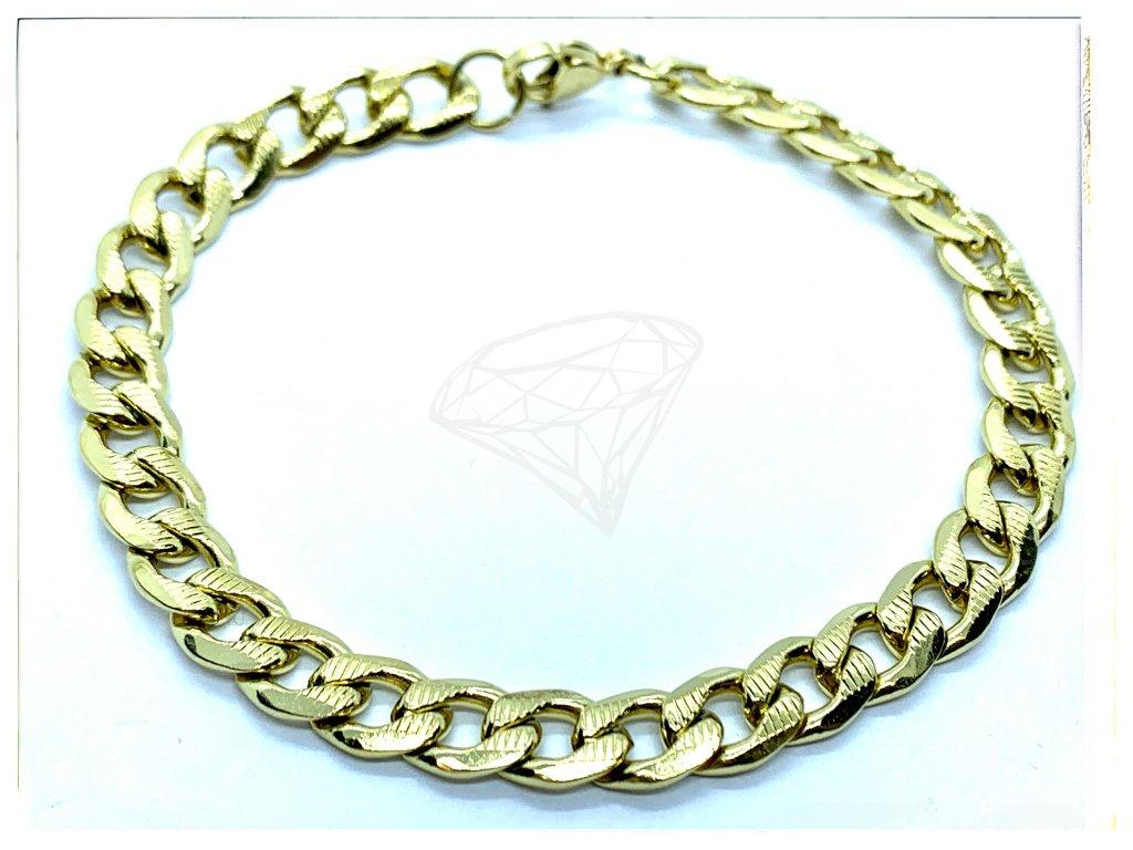 (O848) Ocelový pánský/dámský náramek, gravírované PANCER 7 mm, GOLD/zlatá barva