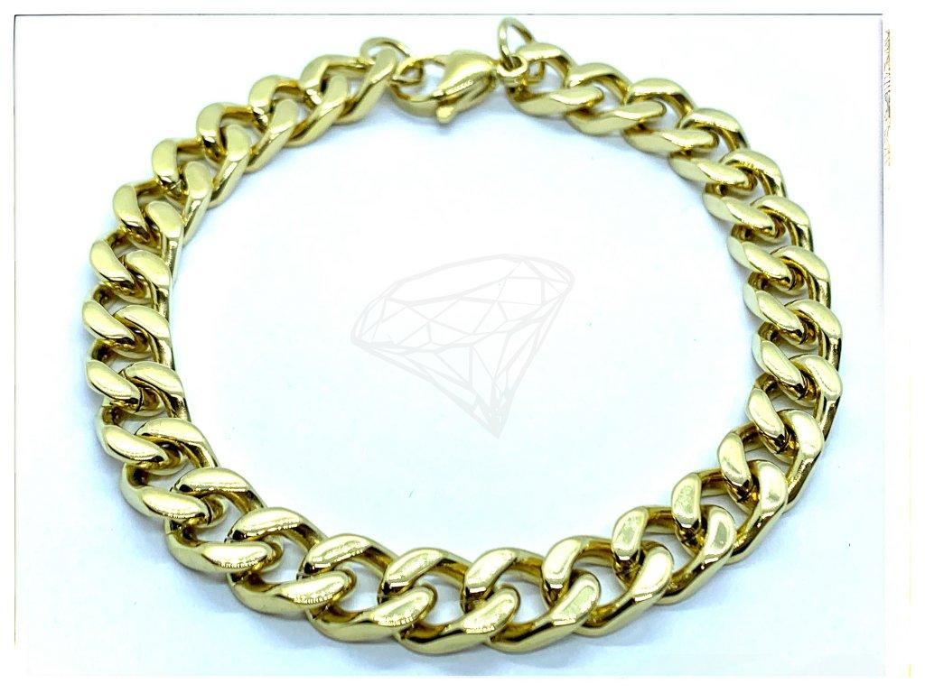 (O849) Ocelový pánský náramek, PANCER 8 mm, GOLD/zlatá barva