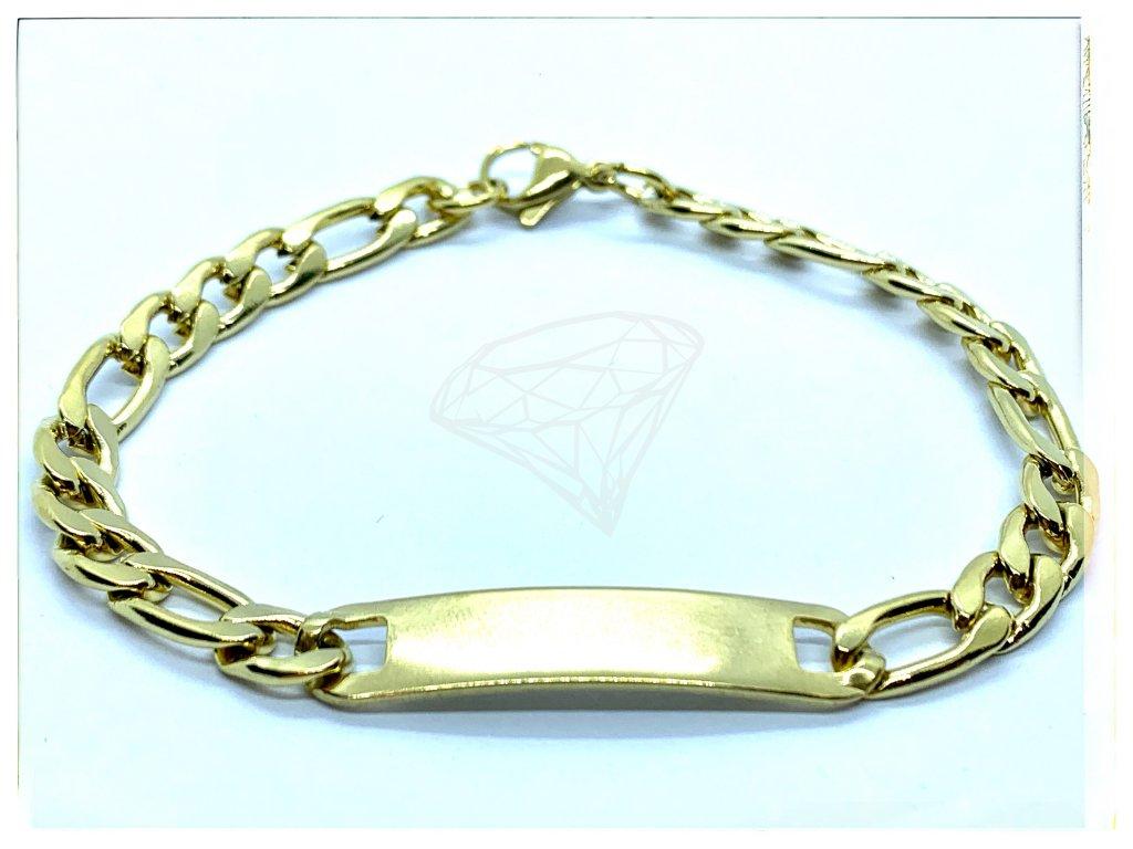 (O850) Ocelový pánský/dámský náramek, FIGARO s ploškou 7 mm, GOLD/zlatá barva
