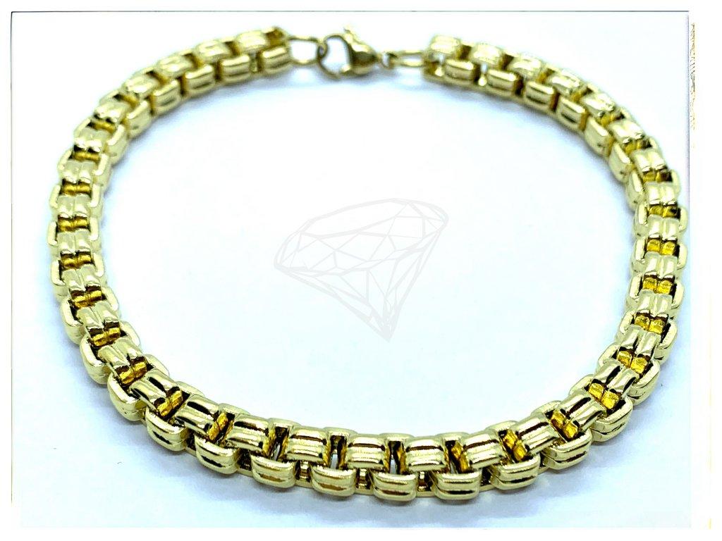 (O854) Ocelový pánský/dámský náramek, KULATÝ 5 mm, GOLD/zlatá barva