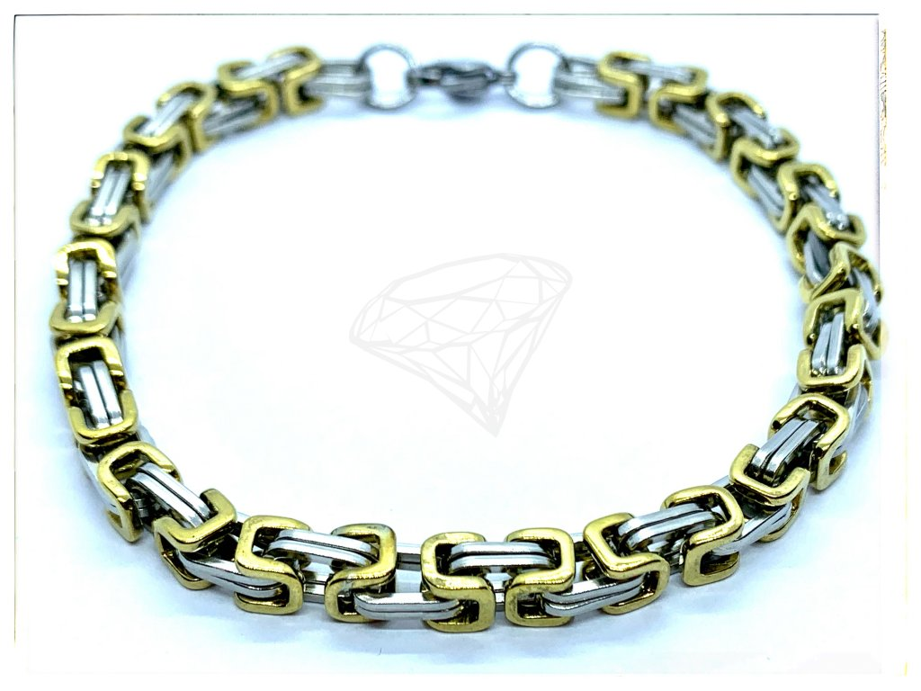 (O867) Ocelový pánský/dámský náramek, KRÁLOVSKÁ VAZBA 5 mm, GOLD/zlatá barva