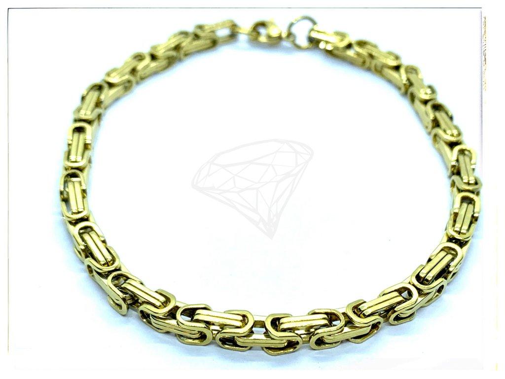 (O868) Ocelový pánský/dámský náramek, KRÁLOVSKÁ VAZBA 4 mm, GOLD/zlatá barva