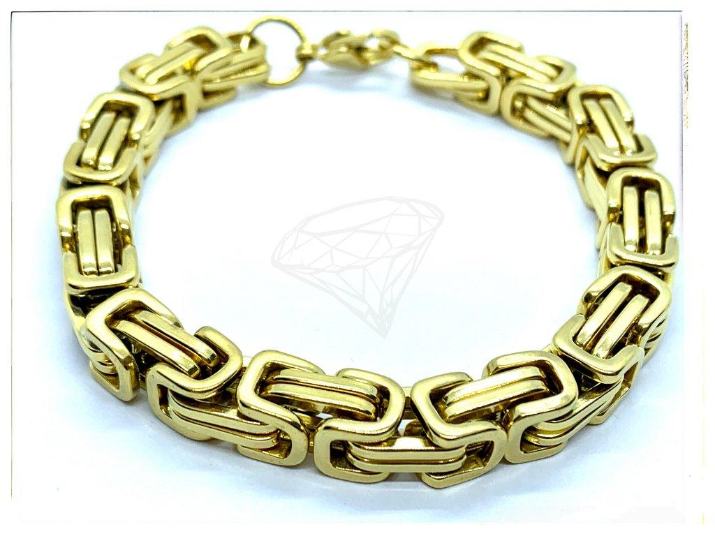 (O875) Ocelový pánský náramek, KRÁLOVSKÁ VAZBA 8 mm, GOLD/zlatá barva