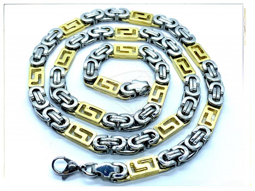 (O308) Ocelový pánský řetízek, plochá VAZBA s řeckým vzorem 6 mm, GOLD/zlatá barva