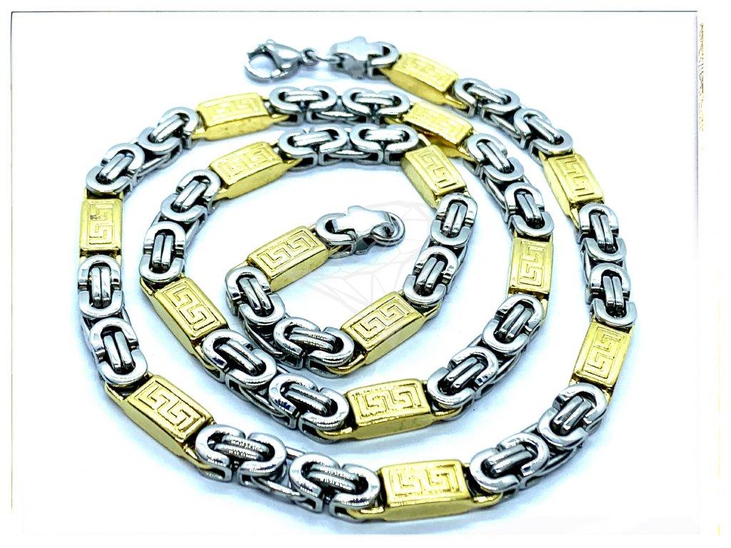 (O309) Ocelový pánský řetízek, plochá VAZBA s řeckým vzorem 6 mm, GOLD/zlatá barva