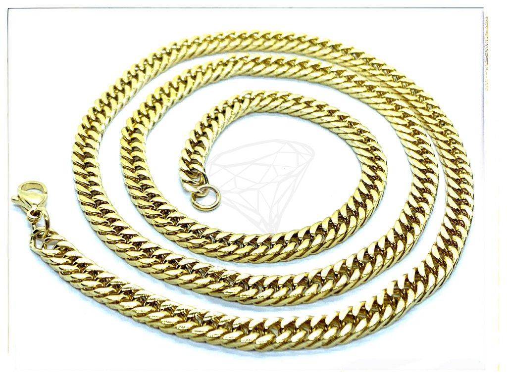(O329) Ocelový pánský řetízek, proplétané ROMBO 60/0,5 cm, GOLD/zlatá barva