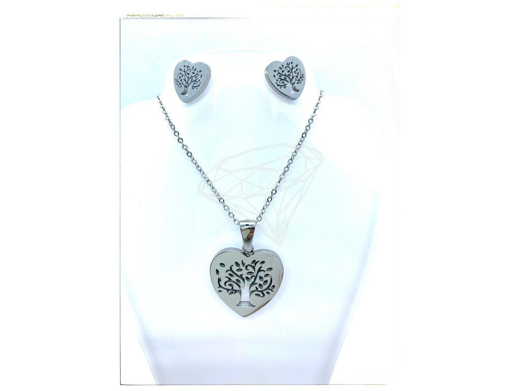 (O506) Ocelový dámský set STROM ŽIVOTA ve tvaru srdce bez kamínků