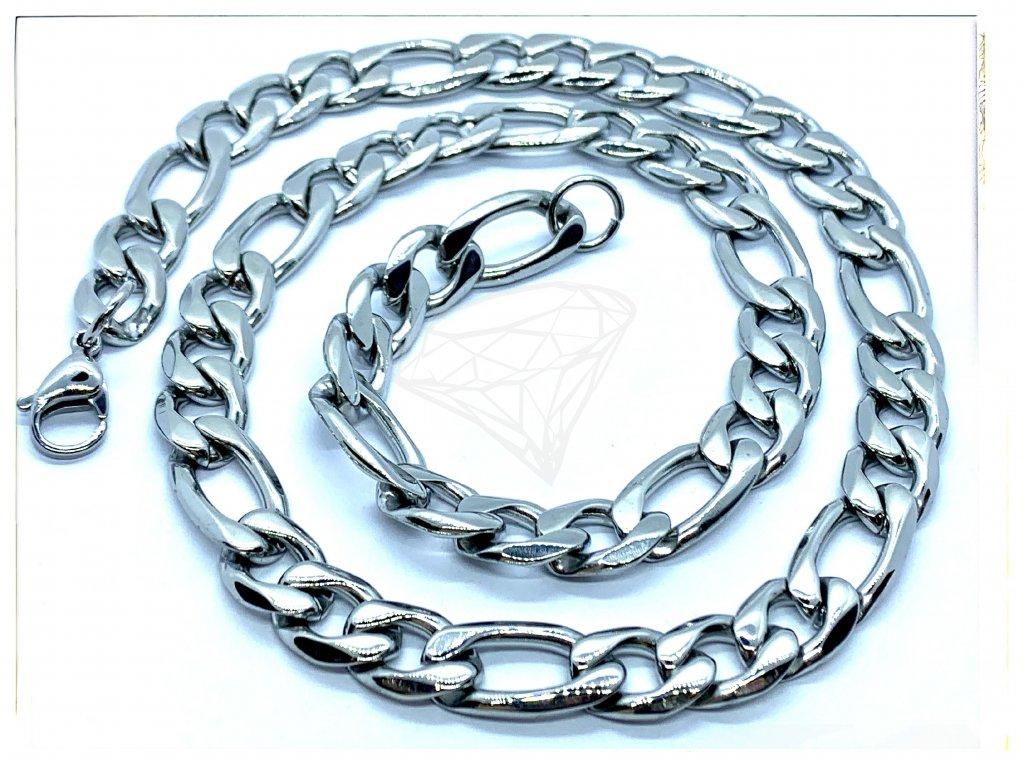 (O332) Ocelový pánský řetízek, FIGARO 11 mm