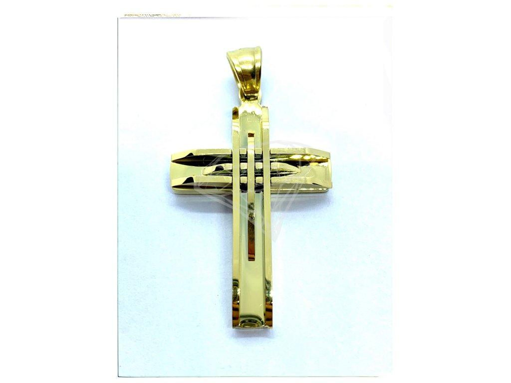 (O404) Ocelový kříž lesklý, GOLD/zlatá barva