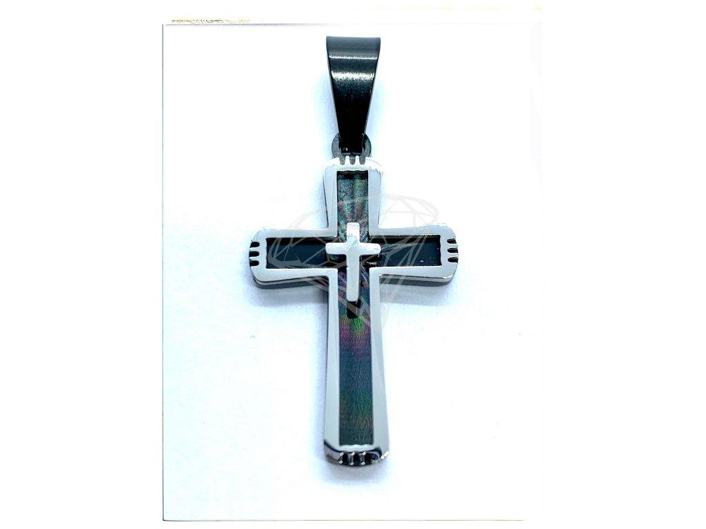 (O406) Ocelový kříž BLACK/černá barva