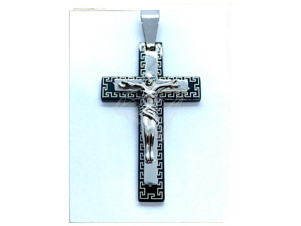 (O411) Ocelový kříž, Ježíš s ŘECKÝM VZOREM, BLACK/černá barva