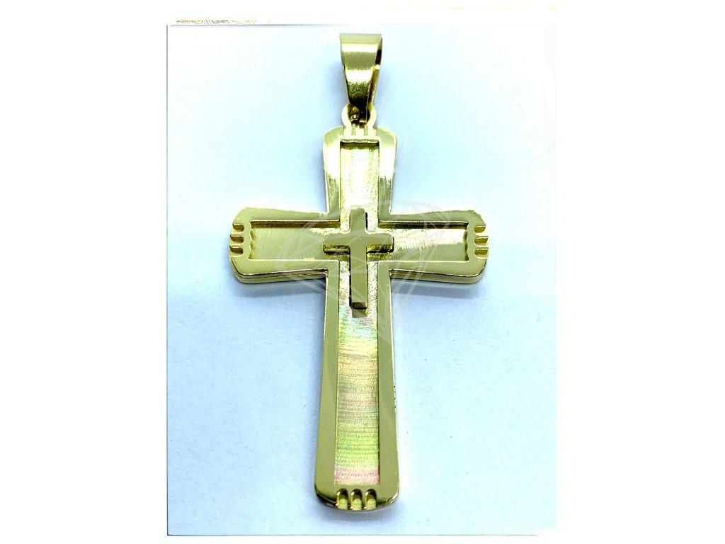 (O412) Ocelový kříž GOLD/zlatá barva
