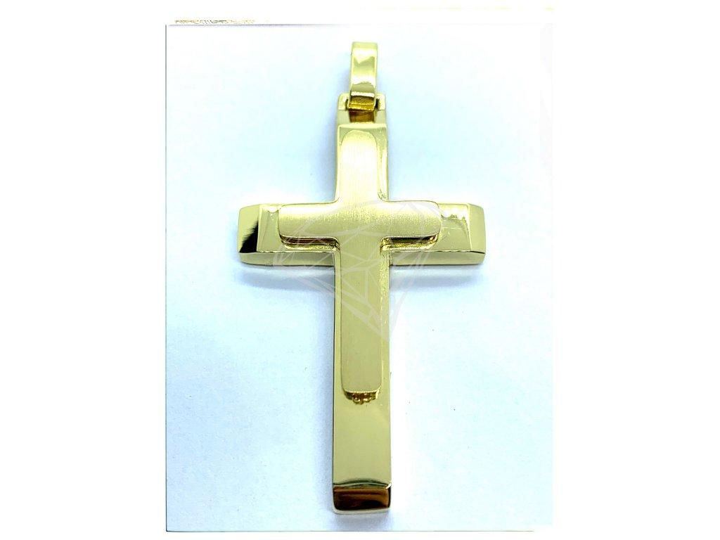 (O414) Ocelový kříž, MAT/LEST, GOLD/zlatá barva
