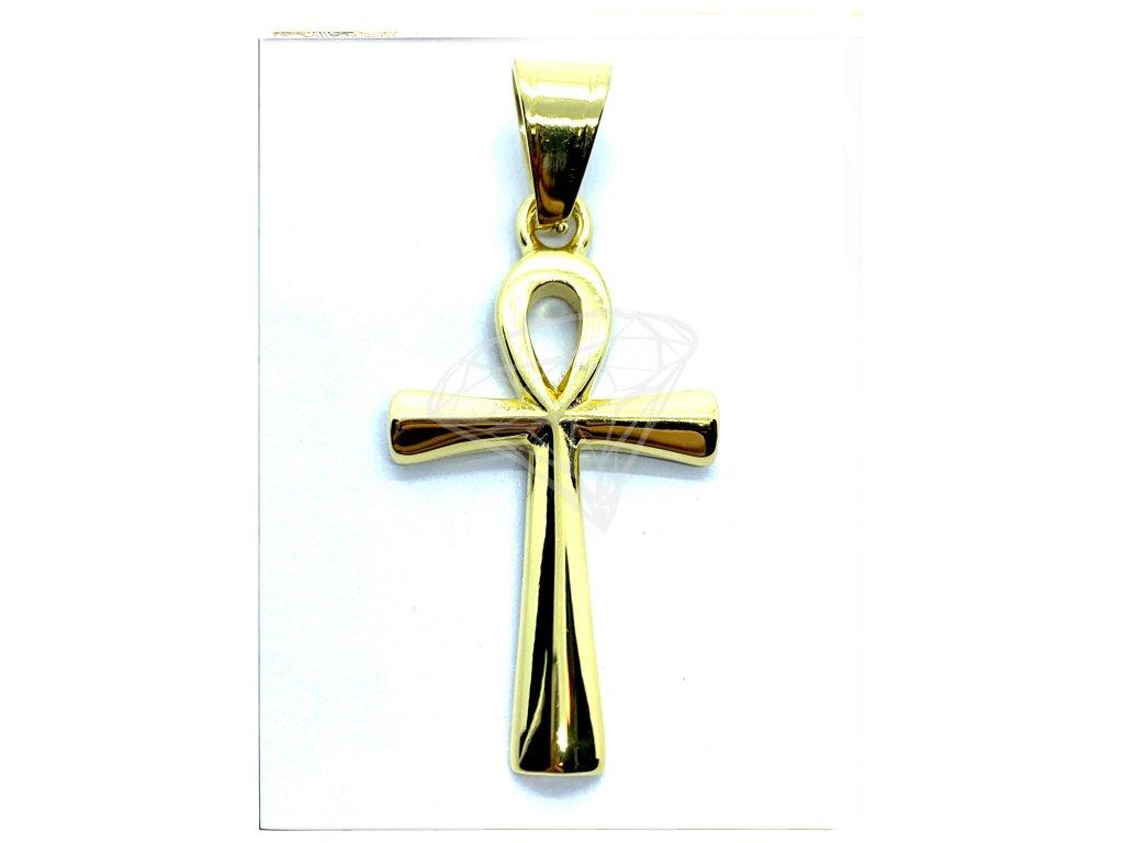 (O417) Ocelový kříž, Nilský kříž, ANCH, GOLD/zlatá barva
