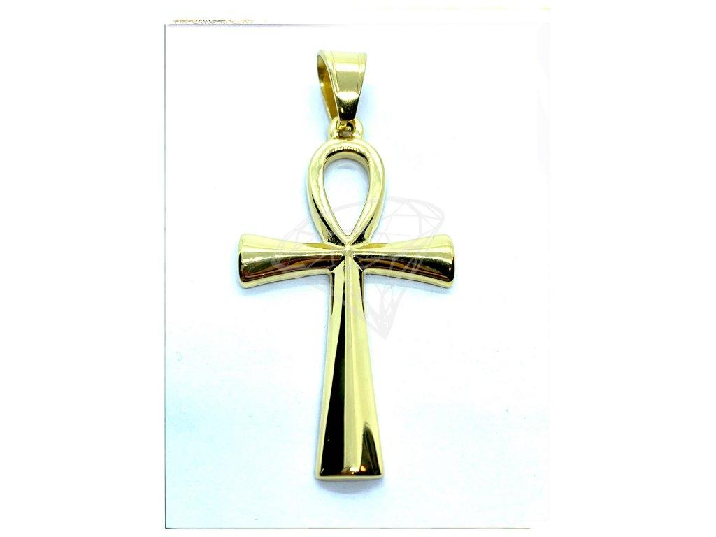(O419) Ocelový kříž 4 cm, Nilský kříž, ANCH, GOLD/zlatá barva